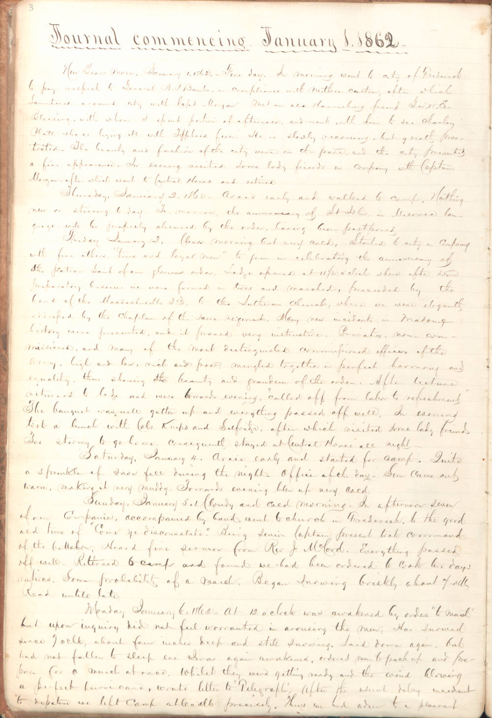 Captain George A. Brooks Diary